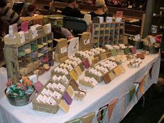 Stay-At-Home-Moms-of-Etsy: Top Ten Craft Show Tips Craft Show Table Displays Craft Fair Displays, Vendor Displays, Display Ideas, Booth Ideas, Vendor Booth, Craft Show Table, Craft Show Ideas, Soap Display, Bottle Display