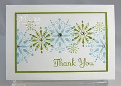 Snow Swirled Stamps. Inks are Marina Mist, Certainly Celery, Old Olive. Rhinestone Jewels on snowflakes. Paper used Whisper White & Old Olive.