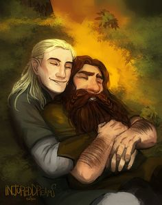 """injureddreams: """"The comfort of your embrace"""" I can't sleep so I painted something. Trying out a new brush, I rather like it. Still autumn mood colors uvu gigolas Lotr, Tolkien Hobbit, Tolkien Books, The Hobbit, Legolas And Thranduil, Bl Comics, Bagginshield, Mood Colors, The Elf"""