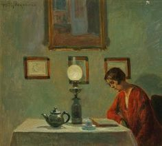 """Reading Woman - Poul Friis Nybo (1869-1929) ~ """"Tea should be taken in Solitude."""" C.S. Lewis"""