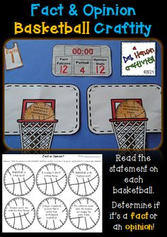 Fact & Opinion Basketball Craftivity!   Read the statements, determine whether they are facts or opinions, and then assemble the craftivity!  $