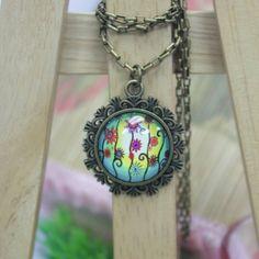 Flowers Art   Antique Bronze Glass Pendant Necklace by AfifShop