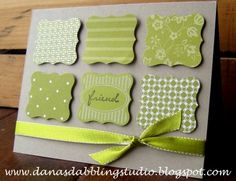 Curly label punch! Stamp each punched out image with a different pattern to have a custom coordinated card.