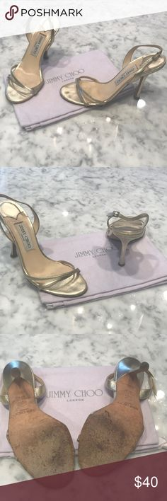 """Jimmy Choo Gold Sandals Jimmy Choo gold sandals. Worn with a few scuffs. 4.25"""" heel height. Jimmy Choo Shoes Sandals"""