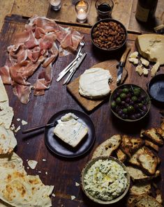 Go Mediterranean.You can't miss with a platter of olives, good cured meats, and quality cheeses (one soft, one hard and sharp, one mild).