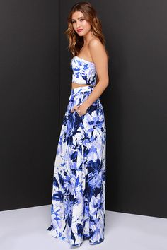 #weddingseason Placid Trip Blue and Ivory Print Two-Piece Dress at Lulus.com!