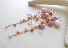 Pink Purple Dangle Earrings, Long Gemstone Cluster Earings, Pink Opal Dangle, Amethyst Cluster Earrings, Peach Coral Dangle