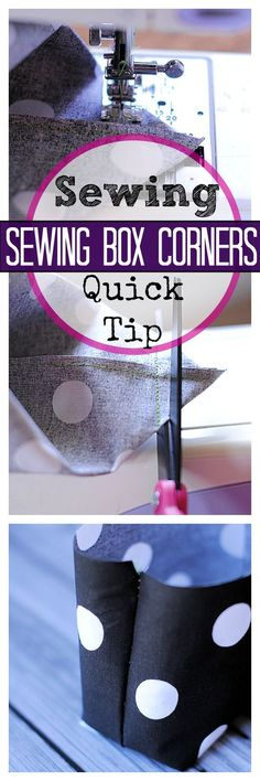 Love this sewing technique tutorial to make those box corners so your project looks polished!