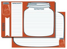 Mason jar recipe cards!