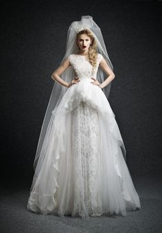 Get the best of both worlds with this 2-piece wedding dress by Ersa Atelier at Panache Bridal of Beverly Hills--a ball gown and a fitted style for the reception.  #laceweddingdresses #twopieceweddingdresses #peplumweddingdresses
