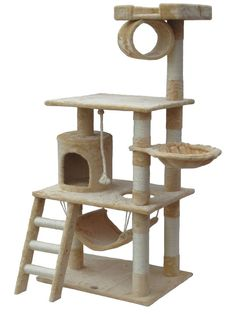 Perfect for felines with a sense of adventure, this free-standing cat tree showcases 3 sisal scratching posts, a hammock for lounging, and a hideaway condo.<br/>