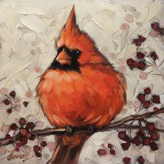 "Cardinal painting, 6x6"" original oil painting of a male Cardinal. Bird artwork, bird paintings   Andrea Lavery"