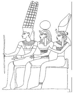3 Egyptians Coloring Page Worksheet