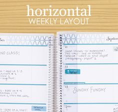 horizontal weekly layout