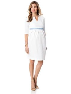6c3247b19e8c7 Madderson London A Pea in the Pod White Elbow Sleeve Pleated Maternity Dress  Cool Maternity Clothes