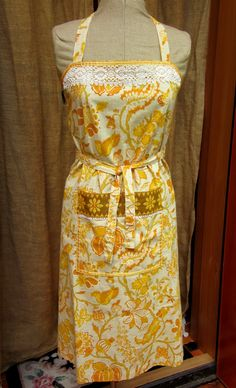 Vintage Apron, Embellished with Vintage Lace and Woven Trim, Pockets, Floral Cotton, Yellow, Amber and Orange by GreenLeavesBoutique on Etsy