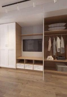 Bedroom Built Ins, Tv In Bedroom, Closet Bedroom, Closet Built Ins, Wardrobe Design Bedroom, Bedroom Furniture Design, Bathroom Interior Design, Smart Closet, Dressing Room Design