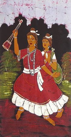 Baul Singers from West Bengal (Batik Painting on Cotton Cloth - Unframed)