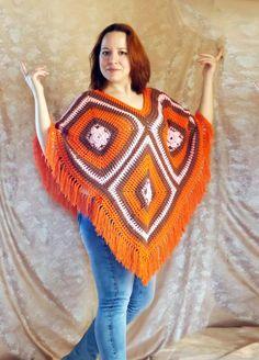 пончо вязаное пончо пончо крючком оранжевое от LeanaKonovalova