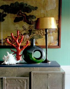 Jean-Louis Deniot's Bridgehampton Beach House - An arrangement of art and objects on an R&Y Augousti shagreen cabinet from Barneys. Lamp from Flamant in Paris. The walls are papered in Farrow & Ball's Drag in Emerald Green. Beautiful Interiors, Beautiful Homes, French Interiors, House Beautiful, French Beach, Interior Inspiration, Design Inspiration, Most Beautiful Wallpaper, Interior Decorating