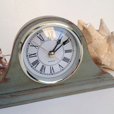 rustic wood dresser vintage distressed mantle clock in white chalk paint 13111