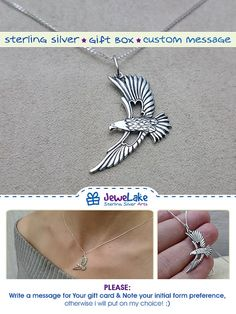american indian eagle feather bird jewelry philadelphia eagles war eagle american eagle patriotic gift eagle gift sterling eagle feather necklace eagle necklace necklace for men JeweLake  ►►► SPECIFICATIONS ► ★ material: Sterling Silver ★ pendant comes in designers handmade box, so its a complete gift. ★ option-1: Sterling Silver Chain (Lengths: 18(45cm), 20(50cm), 22(55cm) or 24(60cm)  ► PLEASE: Write a message for Your gift card, otherwise i will put on my choice! :)  ►►► CUSTOM ORDER ► It…
