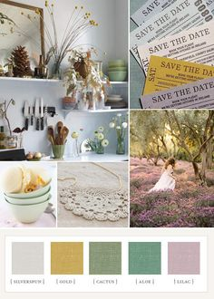 Rustique romance - mix & match again but I can see lilac as a good bridesmaid option, esp b/c I have almost all blonds Wedding Color Schemes, Colour Schemes, Color Combos, Color Patterns, Wedding Colors, Wedding Ideas, Colour Trends, Party Wedding, Wedding Bells