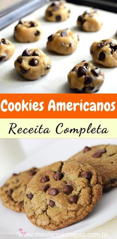 Simple Chocolate Chip Cookie Recipe – Here's how to make the traditional American cookie, crispy on the outside and soft on the inside! Delicious and practical recipe, check out Easy Chocolate Chip Cookies, Brownie Cookies, Homemade Chocolate, Sugar Cookies, Cookie Recipes, Snack Recipes, Yummy Recipes, Pumpkin Spice Cupcakes, Clean Eating Snacks