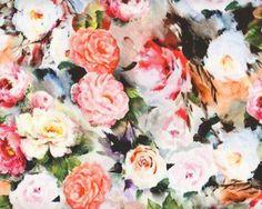 Edler Baumwoll-Stretch-Satin ELOISE, Rosen, aprikot-rosa