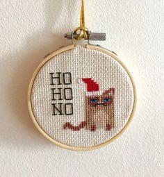 Cross Stitch Christmas Grumpy Cat Wears Santa Hat by elojocards