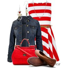 """Striped Dress with a Jean Jacket"" by colierollers on Polyvore"