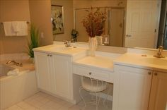 Master Bathroom with Two Sinks and Make-Up Vanity