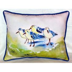 Green Sanderlings by the Shore Pillow