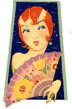 Vintage Deco Flapper Bridge Tally-Flirtatious Redhead-Perfect Hair