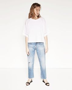Image 1 of EMBROIDERED SLEEVE TOP from Zara