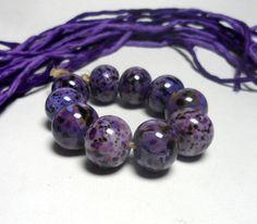 Lampwork. Glass bead handmade. Beads dark purple by Glasskaramelka