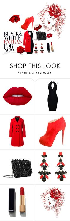 """""""red and black"""" by kandice-marie157 ❤ liked on Polyvore featuring Lime Crime, Marc Jacobs, Giuseppe Zanotti, Oscar de la Renta and Chanel"""