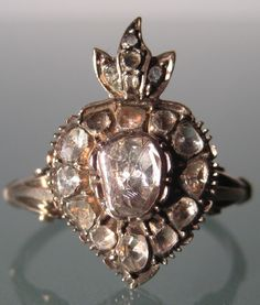 ring - Antique Russian Imperial 8K Yellow Gold Old Cut Diamonds 1900s