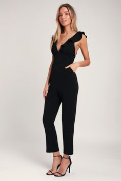 58cb9d1dc10 Leilani Black Ruffled Jumpsuit