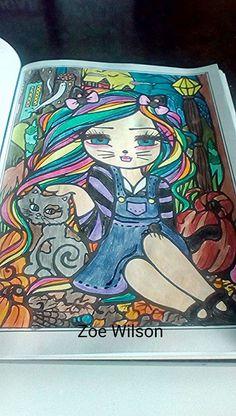 Blissful Halloween  Book - Enchanted Halloween Artist - Hannah Lynn Media - Coloured pencil