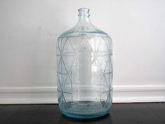 vintage blue glass water jug 5 gallon bottle large floor vase industrial