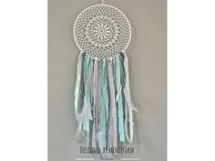 Dream catcher in mint grey and white