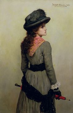 Denise, portrait of young girl with a red umbrella 1885 by English Painter Herbert Gustave Schmalz 1856-1935