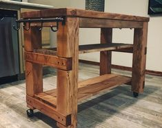 Rustically simple, primitive Kitchen Island or Table from reclaimed pine. Kitchen Island On Wheels, Rolling Kitchen Island, Rustic Kitchen Island, Kitchen Island With Seating, Butcher Block Kitchen Cart, Moveable Kitchen Island, Mobile Kitchen Island, Primitive Kitchen Cabinets, Country Decor