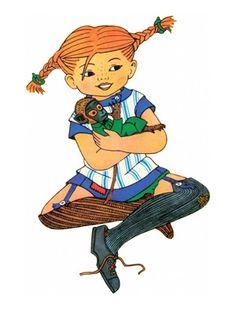 Pippi Långstrump (Longstocking) by Astrid Lindgren Children's Book Characters, Iconic Characters, Pippi Longstocking, Female Hero, Book Tattoo, Kids Story Books, Children's Book Illustration, Illustrations, Childhood Memories
