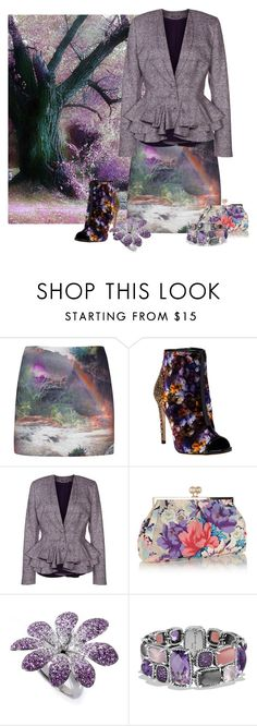 """""""Purple Woods"""" by leptismagna ❤ liked on Polyvore featuring Ted Baker, Jerome C. Rousseau, Zac Posen, Oasis, Zoccai, David Yurman, purple and printskirt"""