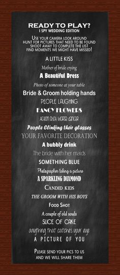 I SPY Wedding Reception Game by InnovativeGoodies on Etsy, $5.00