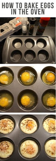 bake eggs in oven at by greasing a muffin tin with non-stick cooking spray, and crack your eggs into the tin. Then add some flavor with a little salt and pepper. Bake for about 17 minutes.