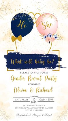 Gender Party, Baby Gender Reveal Party, Gender Reveal Party Invitations, Baby Shower Invitation Cards, Gender Reveal Decorations Diy, Baby Shower Return Gifts, Gender Reveal Video, Gender Reveal Balloons, Reveal Parties