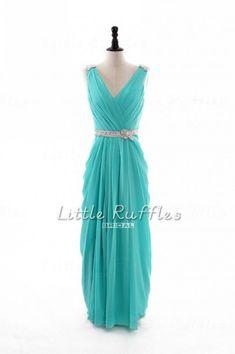 Aqua Bridesmaid DressLong Prom Dress by LittleRufflesBridal, $129.99